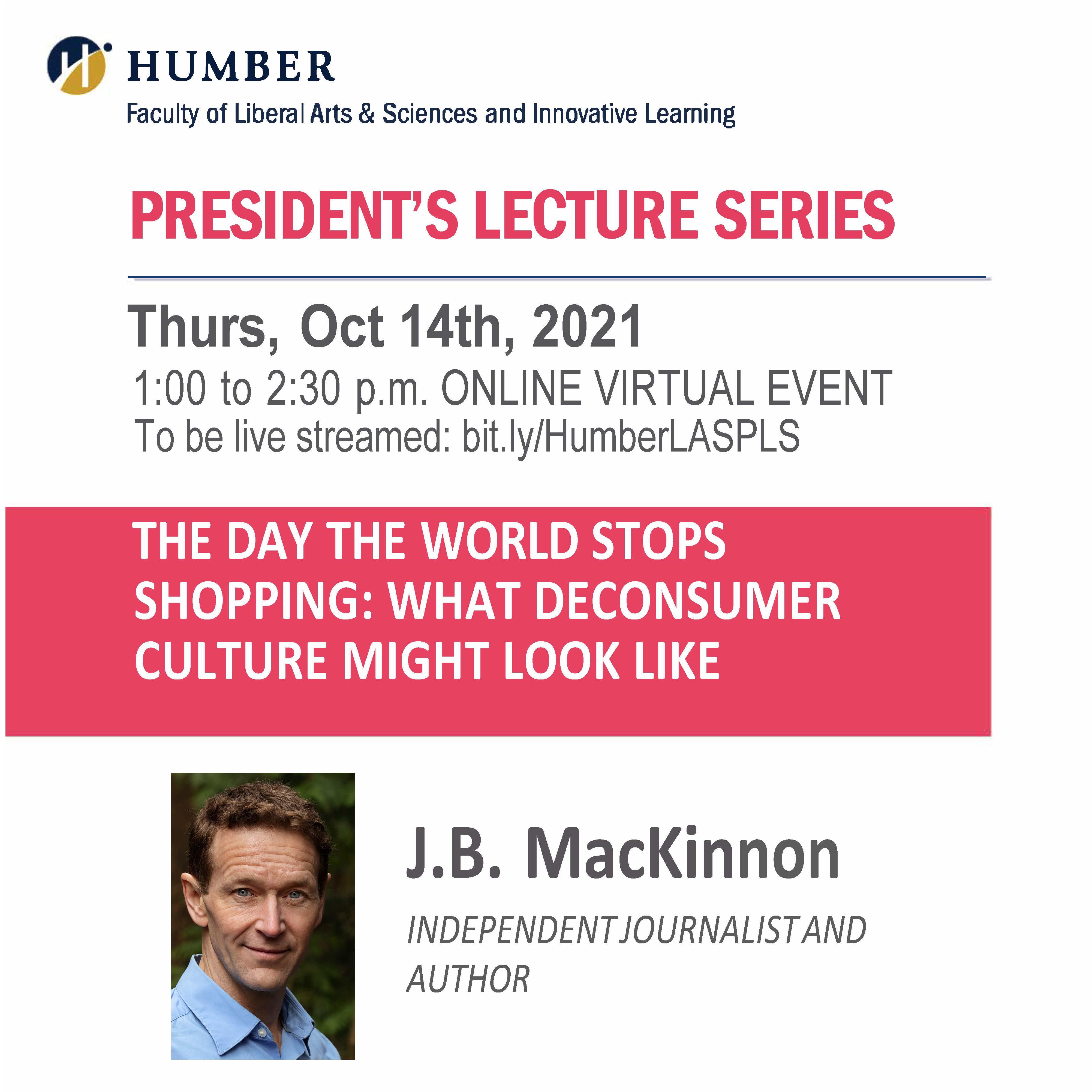 President's Lecture Series: J.B. MacKinnon