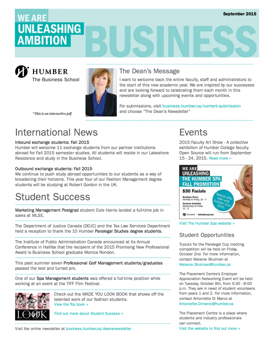 The Business School Has Launched A Monthly Newsletter Highlighting Student Success Stories Events And Notable Faculty Activities Throughout Our Programs