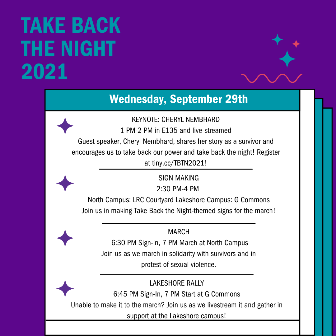 Purple background with stars; text outlining Take Back the Night events