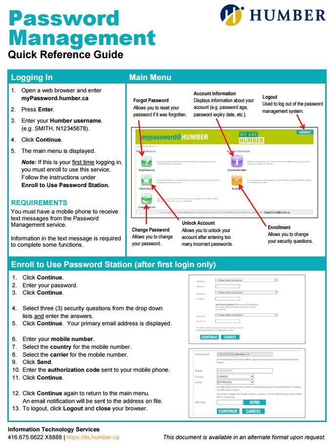 New Password Management Tool | Humber Communiqué