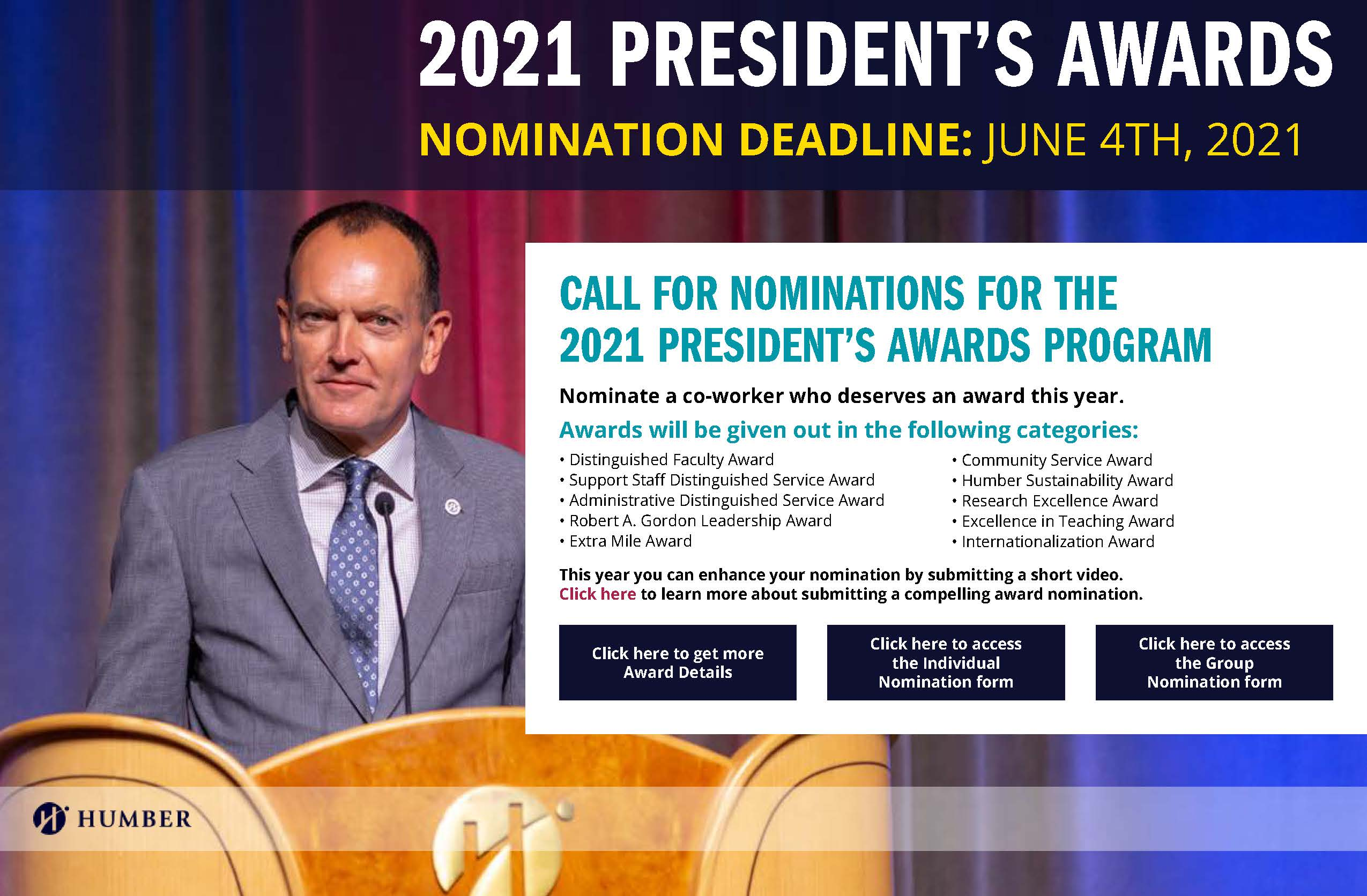 President's Awards Call to Nomination 2021