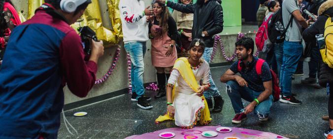 Students enjoying the 2018 North Campus Diwali event