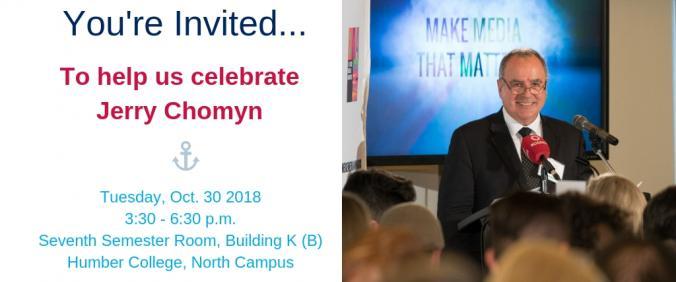 Invitation to celebrate Jerry Chomyn's careeer