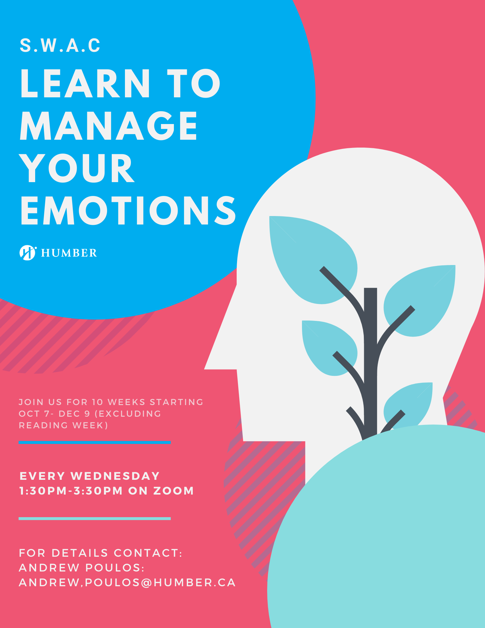 learn to manage your emotions poster, every Wednesday, 1:30pm-3:30pm on Zoom