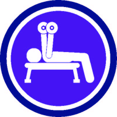 Person icon doing dumb bell bench press