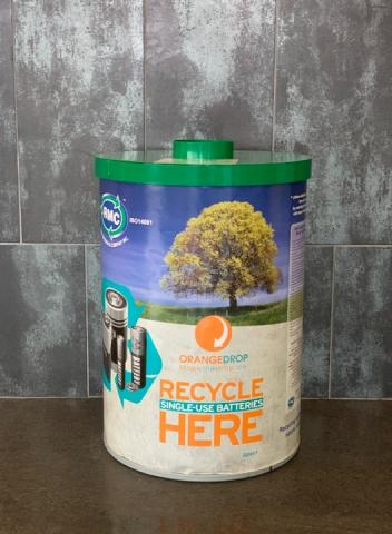 Battery recycling bin at Lakeshore campus
