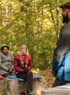 professor teaching in outdoor classroom