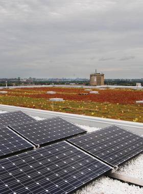 Solar panels on Humber's parking garage