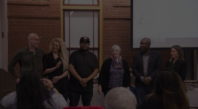 Photograph of the group of people who brought the documentary, Regent Park, to life.