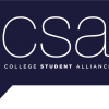 "The College Student Alliance logo reads ""csa"" in white in front of a blue background speech bubble"
