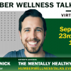 Mark Henick smiles in a headshot superimposed on a green poster advertising his talk