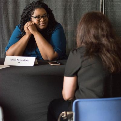 Tia Joseph, representing Salesforce during the professional speed networking activity