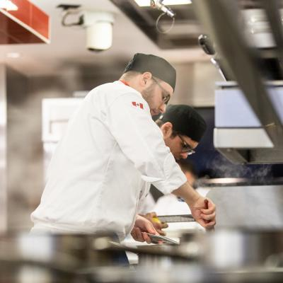 A student chef caught in action during the competition
