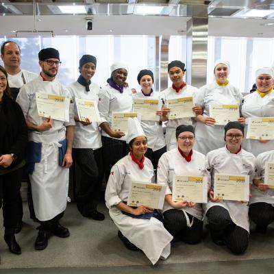 All of the students posing with the head Chefs and their certificates after the competition came to a close.