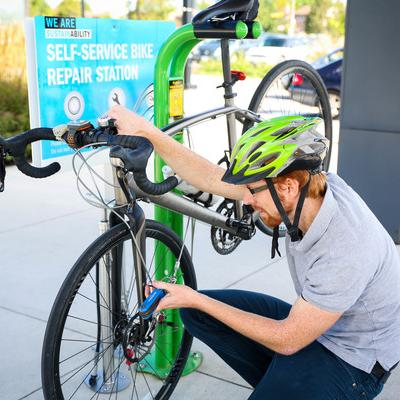 Bike repair station. These are at our North and Lakeshore campuses.
