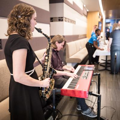 Humber music students performing jazz music for the guests at Humberlicious