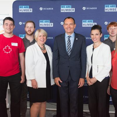 From left to right: Avery Bird, Theo Willert,  Jacobe Pranger, The Honourable Deb Matthews, Dr. Chris Whitaker The Honourable Kirsty Duncan,  Erik Andrews, Aimee Dunculfe, Paul Schiabel.