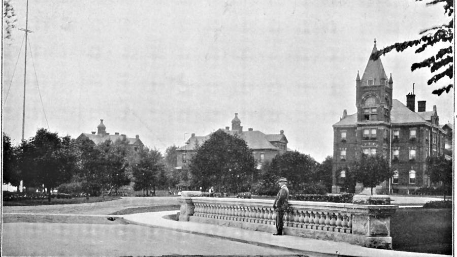 Main building and cottages at the hospital while it was in operation