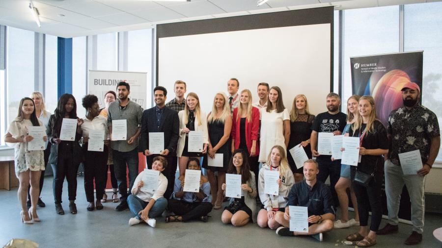 Business Academy Aarhus, Humber and Sinclair Community College students with their certificates of completion of the program