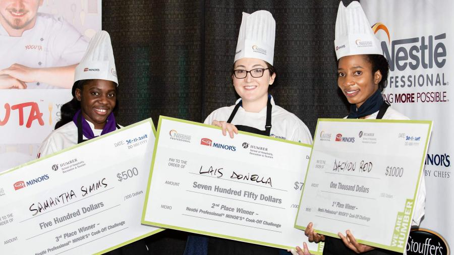 The three Nestlé Professional and Minor's Cook-Off Challenge participants with their cheques