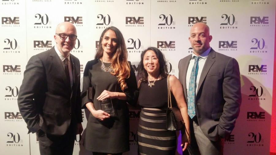 Tiam Rahmani with her award at the PAVE gala in New York on December 7, 2016.