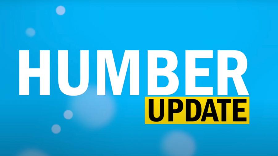 "A blue background with ""HUMBER"" overlaid in white and ""UPDATE"" in black, highlighted in yellow."