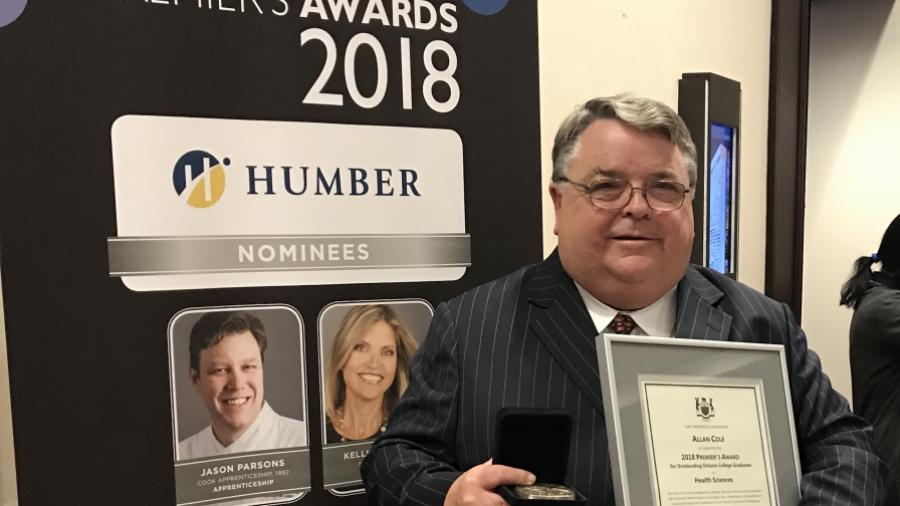 Allan Cole with his 2018 Premier's Award