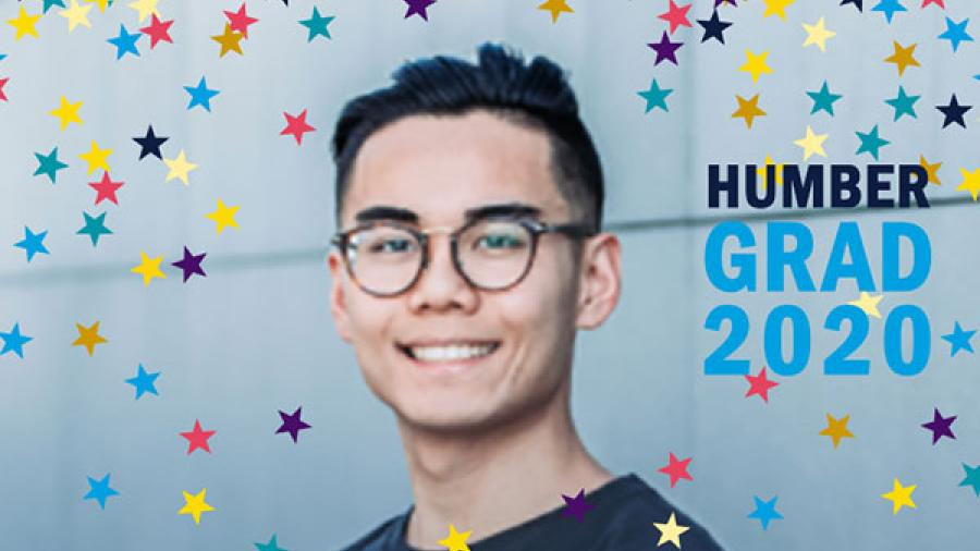 A Humber grad smiles against a blue background. A Facebook sticker makes it look like it is raining confetti