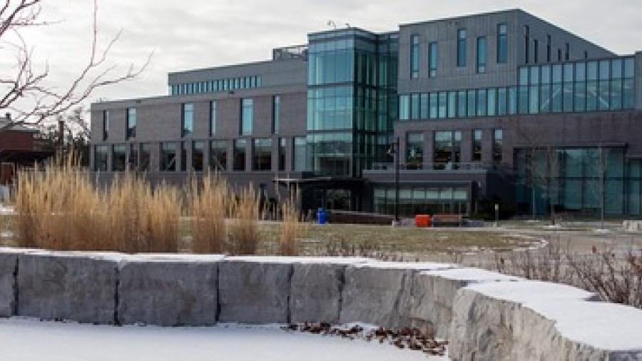 An exterior shot of Humber's Lakeshore Campus in the winter.