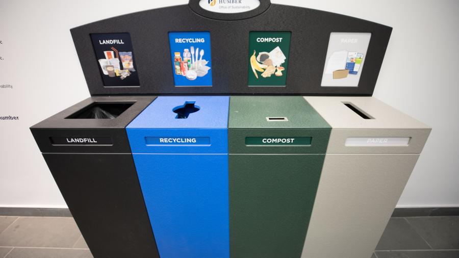 A prototype of the new bins stands in the LRC on North campus