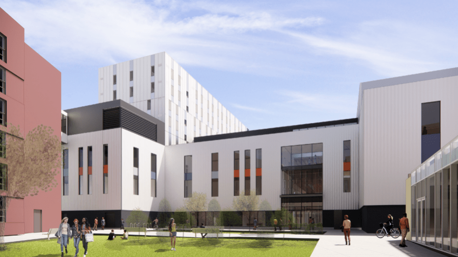 A rendering of the Humber Cultural Hub entrance from the courtyard on Lakeshore campus