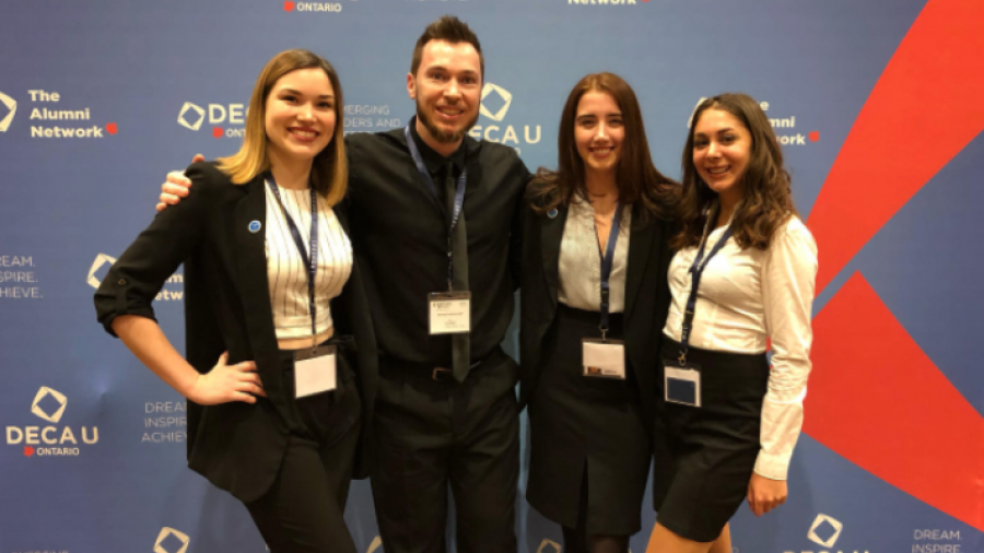Carly Livingston, Samantha Beauchamp and Julie Alsayed from Humber's Bachelor of Creative Advertising (BoCA) program with Sean