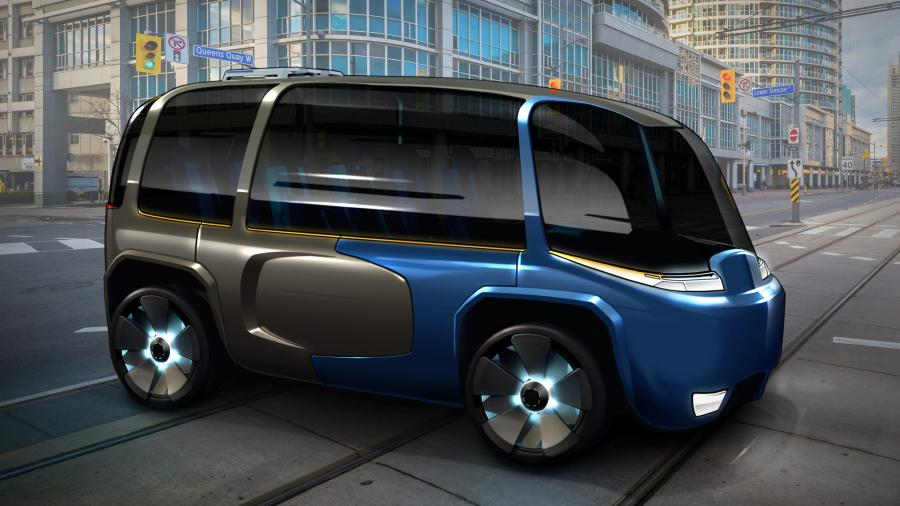 A 3D rendering of The Archer, a shiny black and blue enclosed electric vehicle