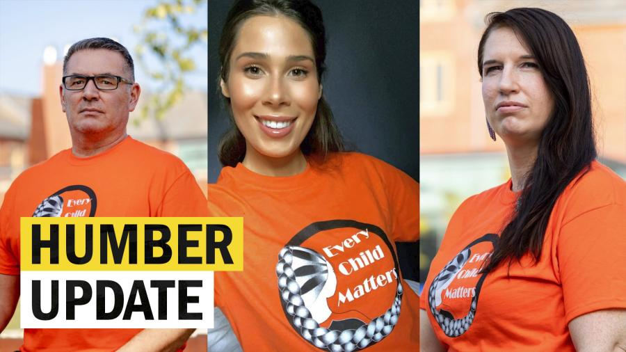 A screen capture of the Humber Update video shows three members of Indigenous Education and Engagement in orange shirts