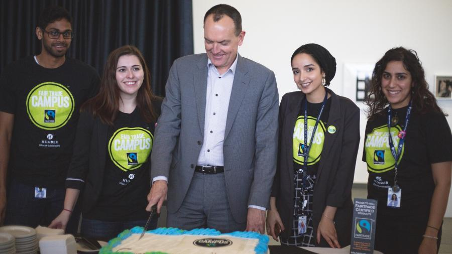 Celebrating Humber North's new Fair Trade status with cake