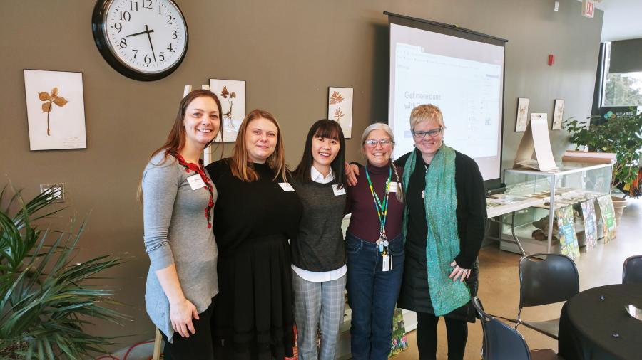 Left to right: Olga Rossovska, Lyndsay Macdonald, Bora Kim, Lynn Short, Louise Zimanyi