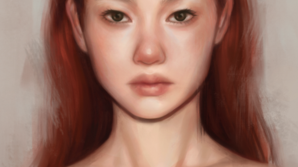 'Red' by Anna Sychevskaia is a digital image of a young woman with red hair and bare shoulders