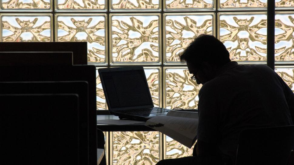 a student works on a laptop at Humber College North Campus