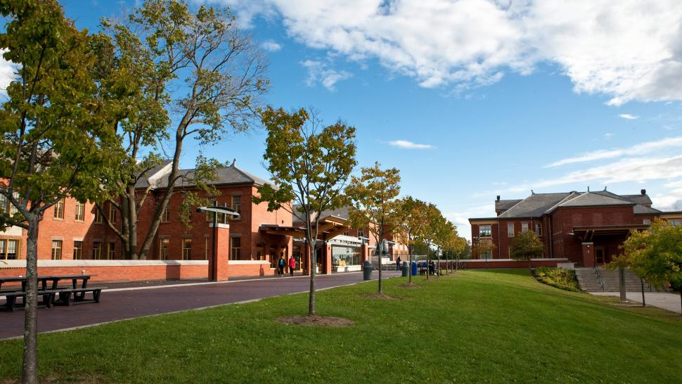 Humber campus on a summer day
