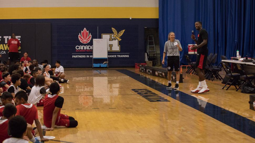 C.J Miles visits the Raptors Basketball Academy at Humber