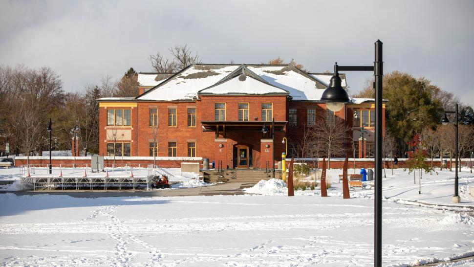 Humber College Lakeshore campus exterior is shown covered in snow in November of 2019