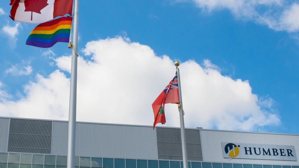 The pride flag flies at Humber College North campus