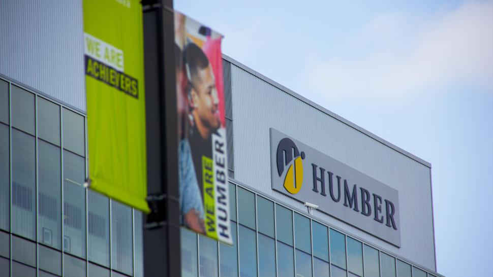 A flag outside the Humber College LRC North Campus
