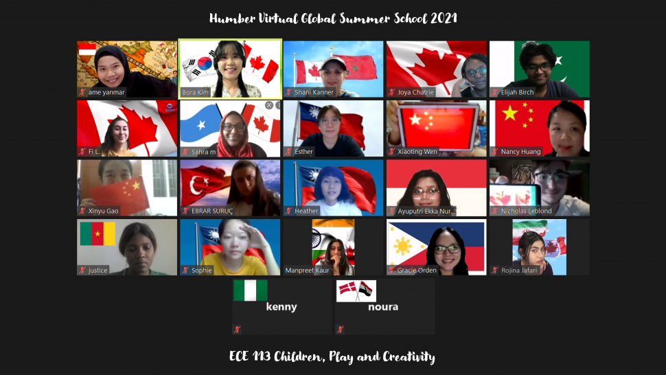 22 squares showing summer school students and their country's flag are seen on a Zoom screen.
