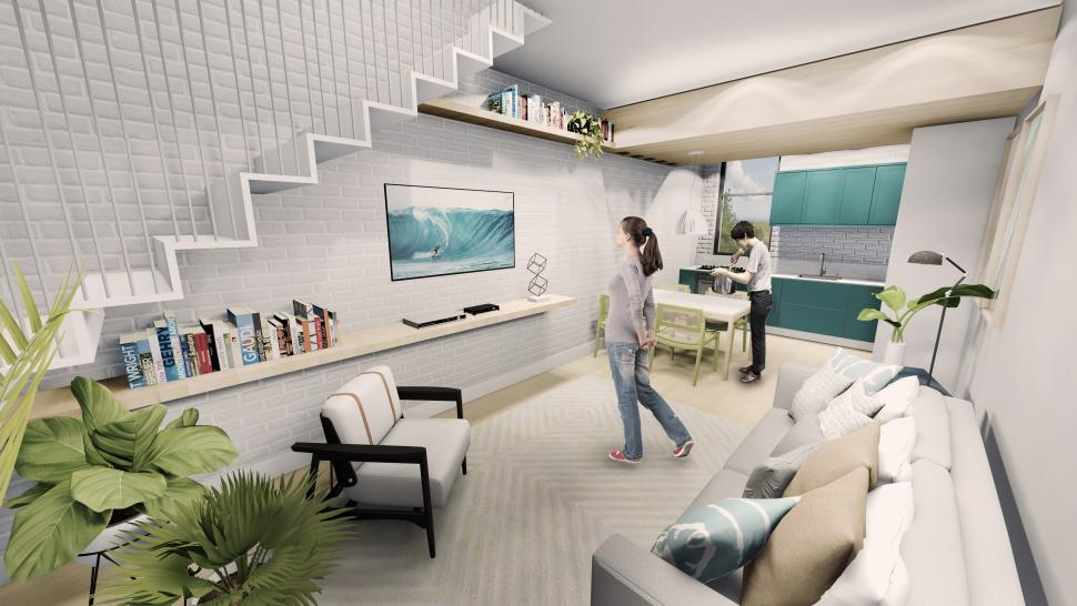 An interior rendering of Lee and Duarte's project