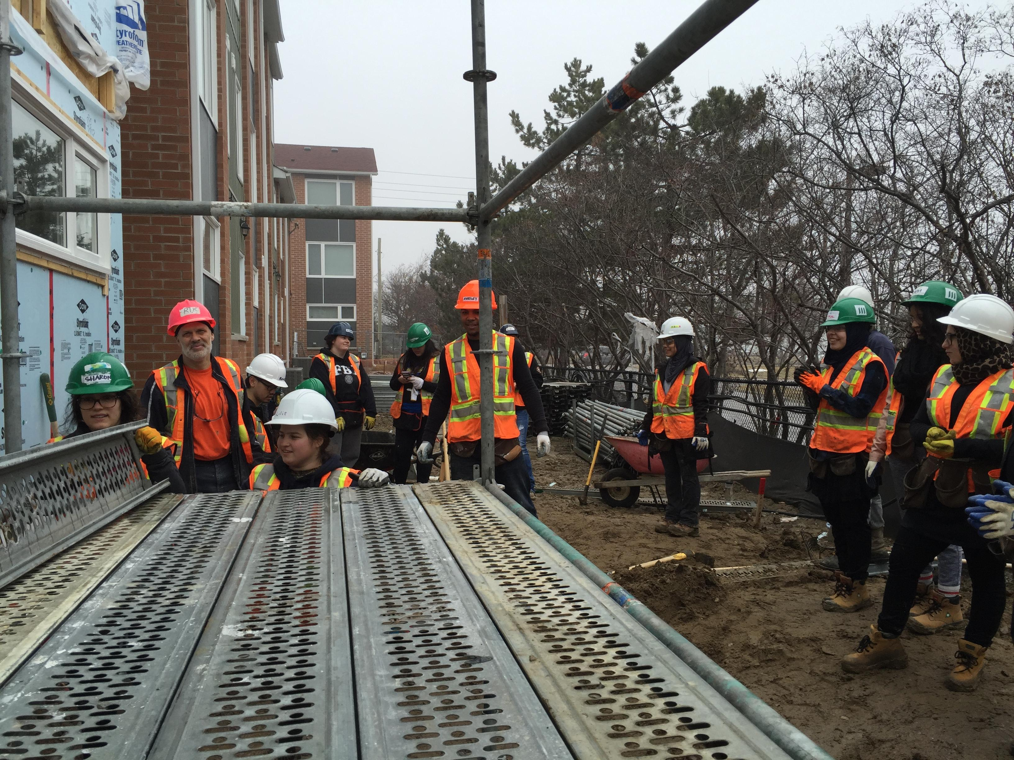 Humber students help at a Habitat for Humanity build in Brampton.