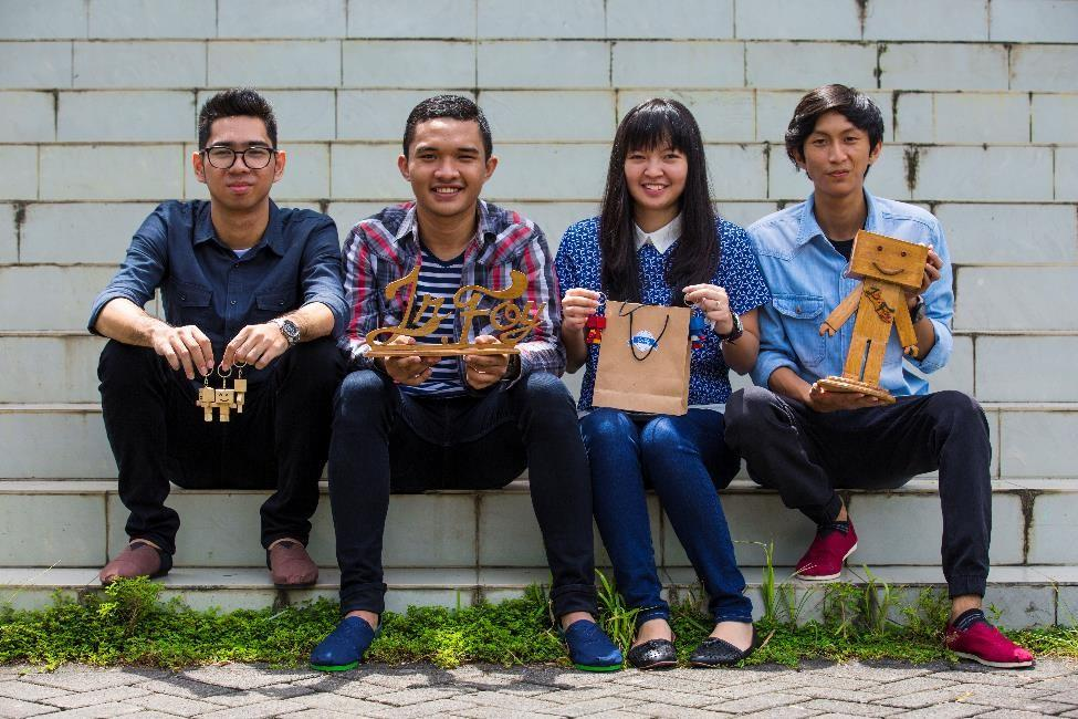 Group of four Indonesian students
