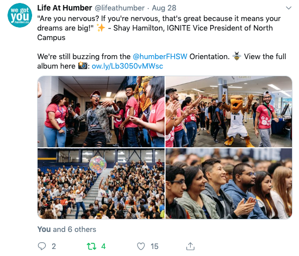 Life at Humber Twitter account promotion of Orientation