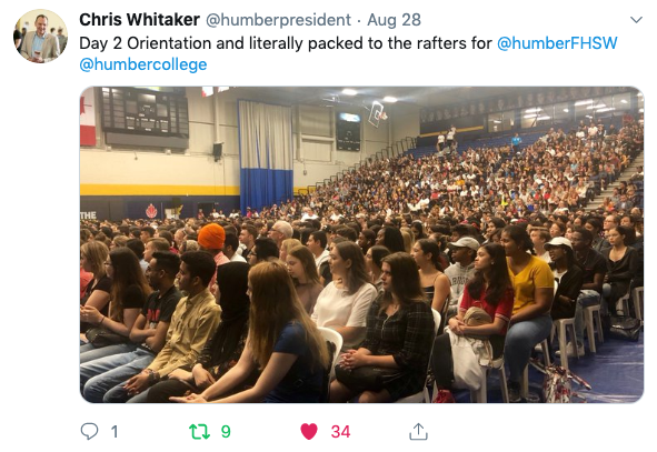 Humber President Chris Whitaker tweets about a full house at Orientation.