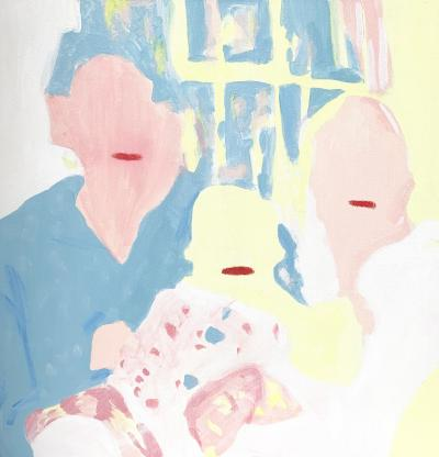 'A Memory (or the lack thereof) is a painting by Ali Brown showing two parents and a child without faces